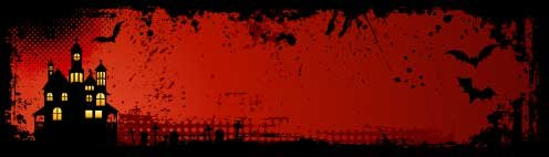 banner Bookmark haunted House red bg